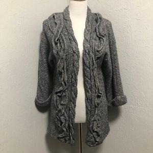 Hinge Thick Kni Front Ruffle Cardigan Wrap Sweater